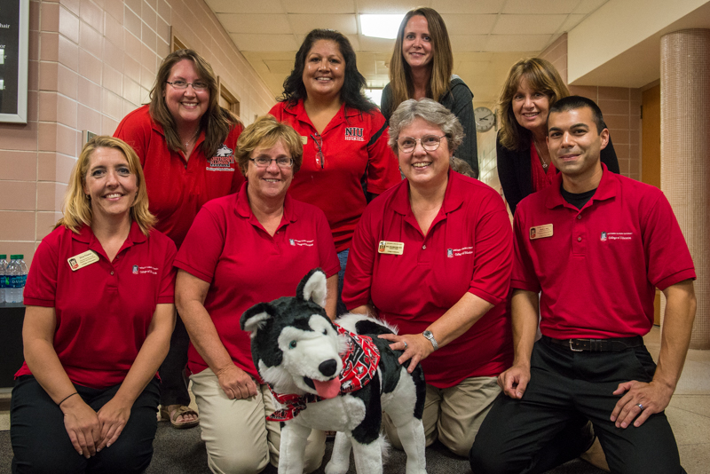 Ed the huskie with staff council