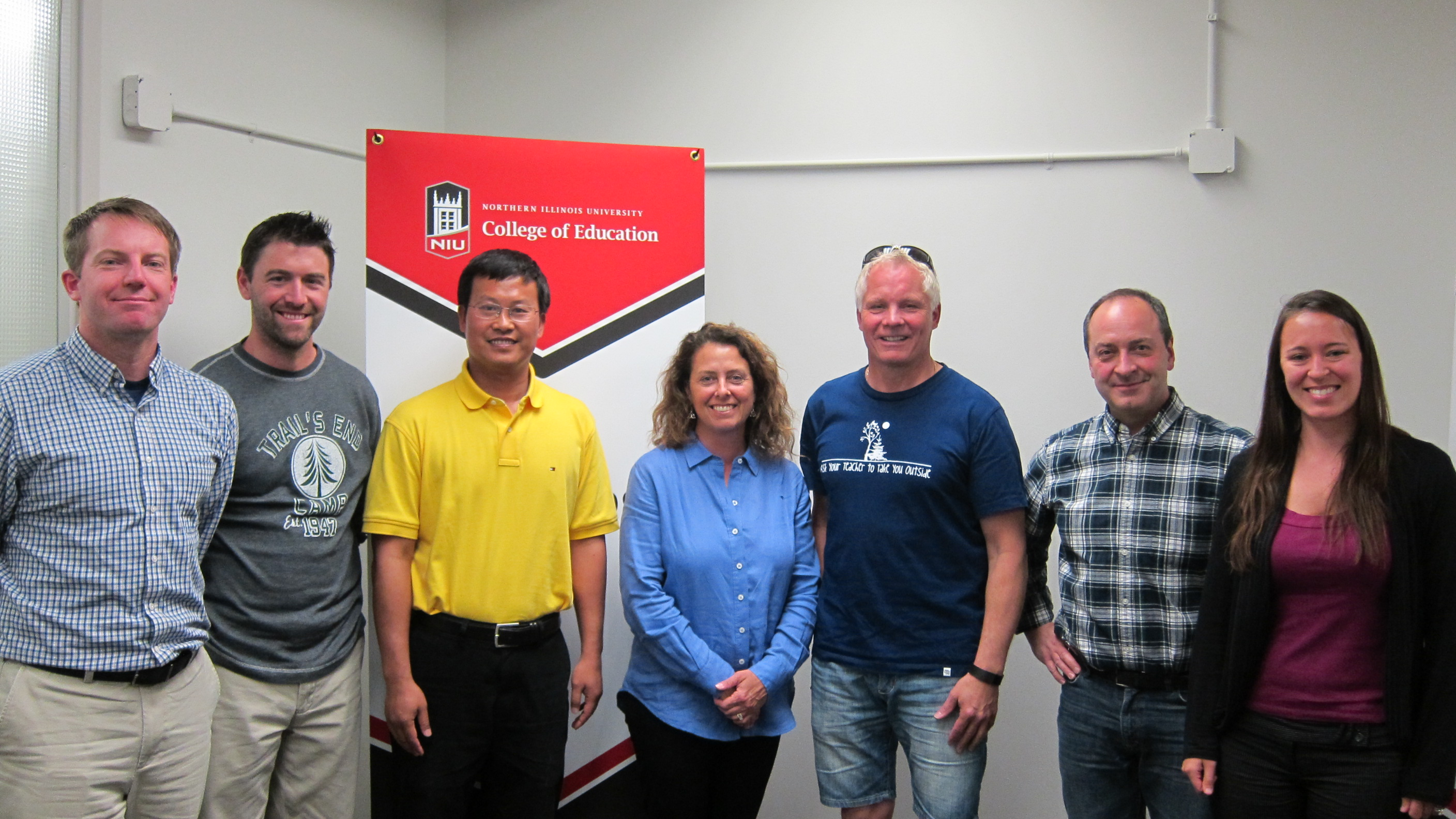 (L to R) Dr. Jim Ressler, Assistant Professor, Dept of KNPE, NIU Dr. Zach Wahl-Alexander, Assistant Professor, Dept of KNPE, NIU Dr. Xia Wen, Professor, Institute of Physical Education, at Yunnan University in China Lynette Spencer, Director of Adventure Works, DeKalb County Dr. Nick Forsberg, Professor, Health, Outdoor, Physical Education Program, University of Regina, Saskatchewan, Canada Dr. Paul Wright, Professor, Dept of KNPE, NIU Dr. Jenn Jacobs, Visiting Assistant Professor, Dept of KNPE, NIU
