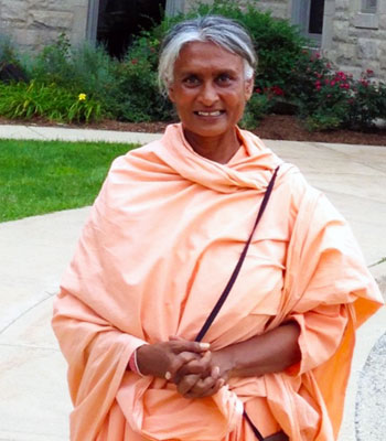 Lalitha Gowdanahalli Ramappa visits Altgeld Hall in August.