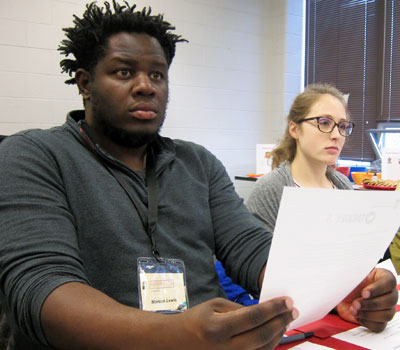 Elementary Education majors Marcus Lewis and Abby Spankroy listen during the Educate U.S. orientation.