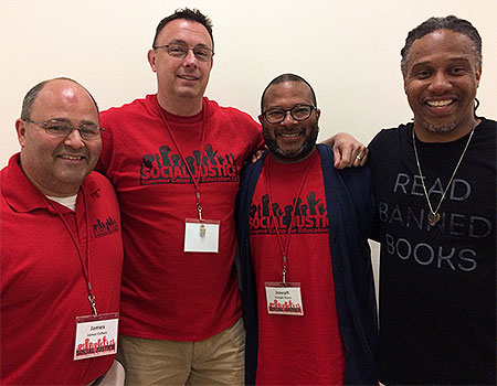 From left: James Cohen, Michael Manderino and Joseph Flynn welcomed David Stovall as a keynote speaker for the 2018 event.
