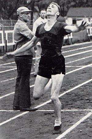 Cal Korf wins a race.