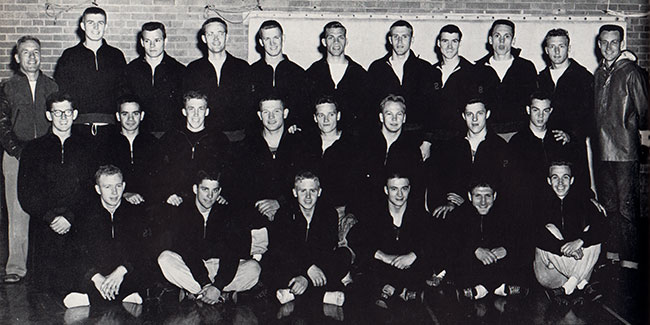 The NISTC men's track team, 1955. Korf is third from the left in the middle row.