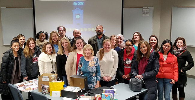 Students in Downey's Social Studies Methods class threw her a retirement party.