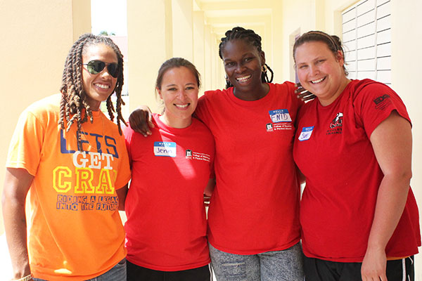 Kaya Cattouse (left) and Jenn Jacobs (second from left) are long-term friends and collaborators.