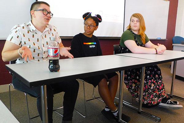 DeKalb High School students lead a panel discussion.