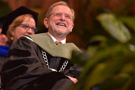 Dunn presides over his final WMU commencement. Photo credit: Western Michigan University