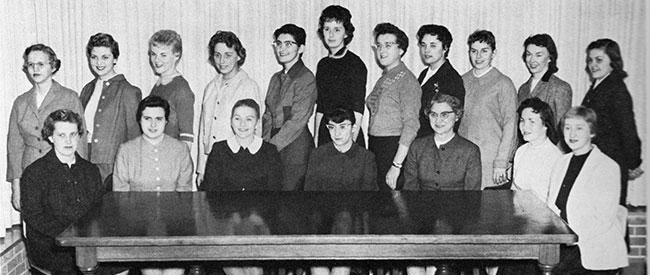 Members of Delta Psi Kappa, 1958-59. Patricia (Banks) Aldred is front row, far right.