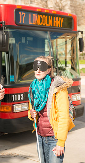 "During ""The Drop-off Lesson,"" NIU students are under blindfold for hours each week as they cross streets, complete routes and find their way back to specific locations."