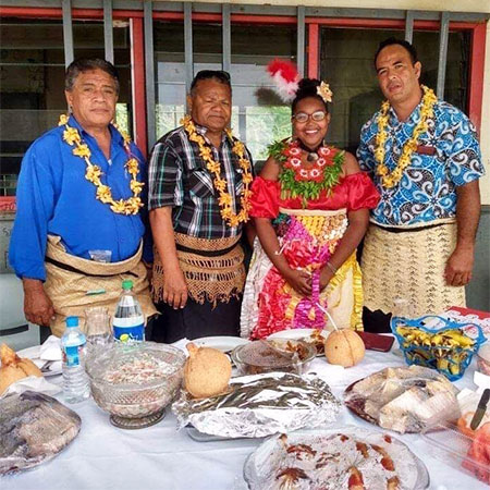 "Bernadette Chatman and members of her Tongan ""family."""