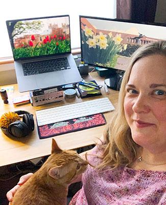 Kristy Wittman Howell and her cat, Theobald Schlegel (Tibby for short)