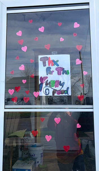 Donna Cairy finds graditude on the door of a Monroe School District student.