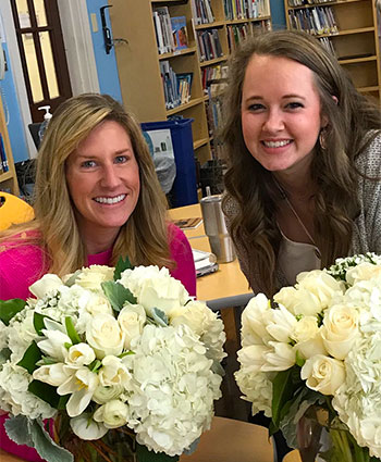 NIU alumna Jessica Dyra, right, is the 2020 Beginning Teacher of the Year in the Houston Independent School District. Noelle Stecher, right, a teacher at the same school, is the 2020 Teacher of the Year.