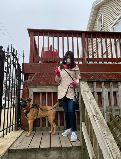 """Maria Aristeo Miranda, a senior Business Administation major, takes on the """"Building Resilience"""" challenge by getting outside."""