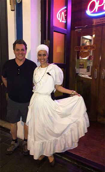 Sarah Johnston-Rodriguez's husband, Ben, outside the couple's favorite restaurant in Puerto Rico.
