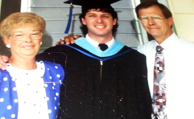 Wickman in 1991 and his parents at his gradaute school commencement from Eastern Illinois University.