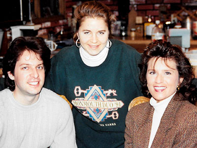Wickman in 1994 with his sister, Janel Rowland, and Cynthia Campbell.