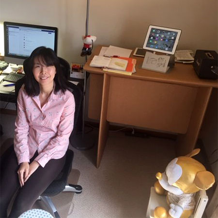 Pi-Sui Hsu in her home office.