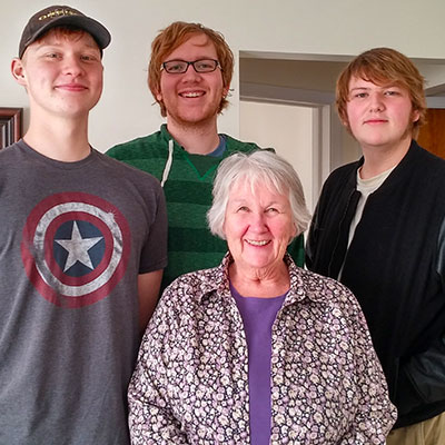 The sons of Carolinda Douglass and Ted Moen and their grandmother, Amy Douglass