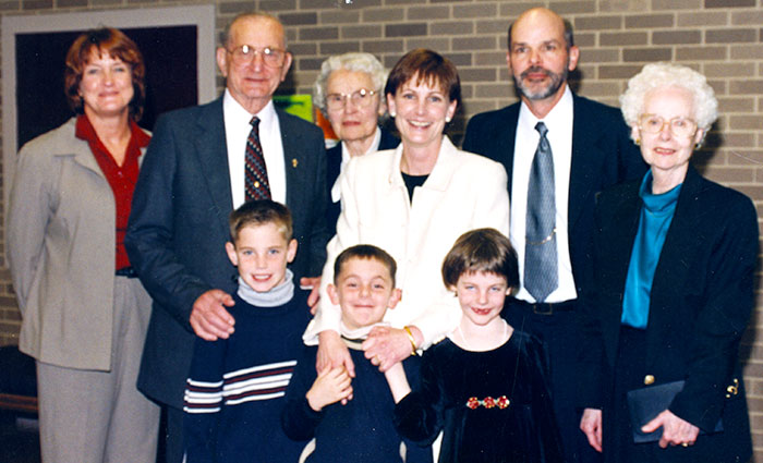 A presidency begins: The Sobek and Anderson families in 2001.