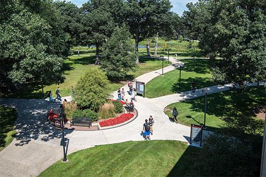 A bird's eye view of Waubonsee's main campus.