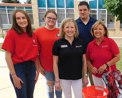 Office for Student Success team (from left): Sarah Meyer and Julia Hoelzer (graduate assistants), Christy Schweitzer, Jonathan Lindstrand (office manager) and Jennifer Johnson.